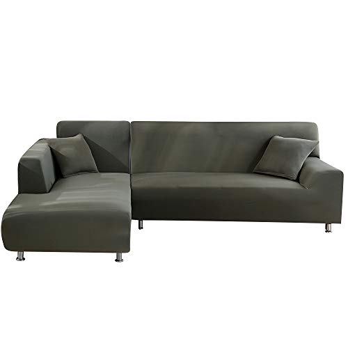 Fundas Sofa Elasticas Chaise Longue,Extraíbles y Lavables,Moderno Cubre Sofa Chaise Longue Universal Fundas Protectora para Sofa contra Polvo en Forma de L 2 Piezas(Gris&Verde,2 Plazas+2 Plazas)