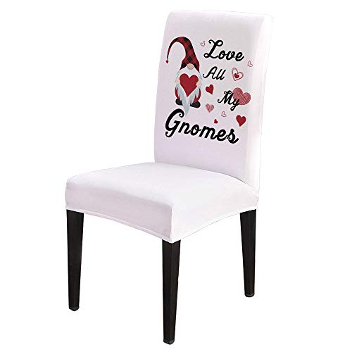 Dining Chair Covers, Stretch Protectors Slipcovers Cartoon Gnome and Love Heart Removable Washable Seat Cover for Home Living/Dining Room Party Hotel Happy Valentine Day