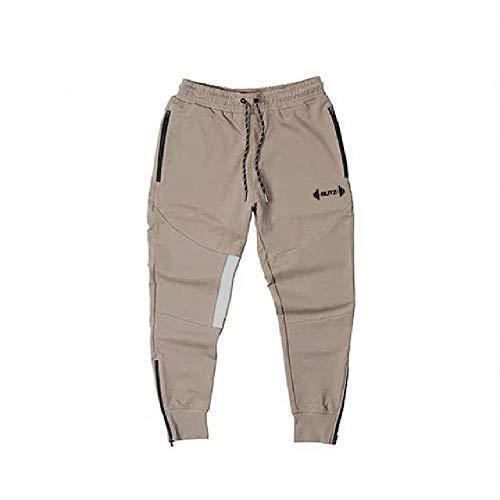 nobrand Muscle Herren Sweatpants Fitness Training Jogger Casual Herbst Baumwolle Sweatpants Fashion Streetwear Hose Herren Elastischer Bund Gr. 34-37, Khaki