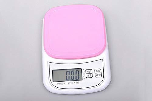 Báscula Digital de Cocina,Balanza de Alimentos Multifuncional, Escala de Peso de Alta Precisión con Función de Tara, Pantalla LCD Báscula de Alimentos Electrónica -Rosado