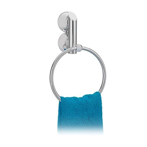 Relaxdays Handtuchhalter ohne Bohren KNUTSCHI rund für Bad, Handtuchring, mit Saugnapf, HxBxT: 23 x 15 x 6 cm, silber