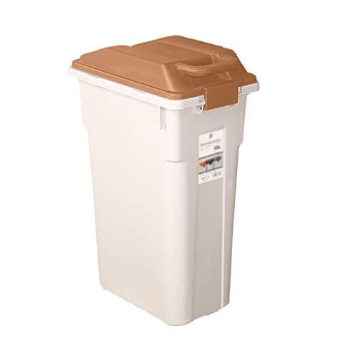 Mülleimer Poubelle Abfalleimer Snap-on Abfallbehälter Deckel Papierkorb Schmale Küche Wohnzimmer Badezimmer 3 Farbe Rollsnownow (Color : Brown, Size : 45L)