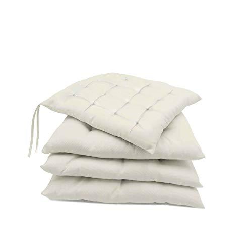 Pack de 4 Cojines para sillas jardín, Comedor, Cocina | Cojines Acolchados para Silla de 40 x 40 cm | Decoración hogar Ideal para sillas (Beige)