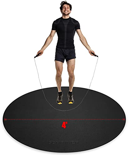 SCHRINER Pro Round Jump Rope Mat 4' x 6mm for Workout, Cardio, Home Gym Flooring - Premium Extra Thick, Ultra Durable, Shoe Friendly, Non-Slip Fitness Mat
