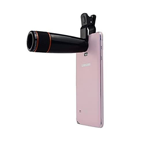 Tygot Universal 12X Zoom Mobile Phone Telescope Lens with Adjustable Clip Holder (Black)