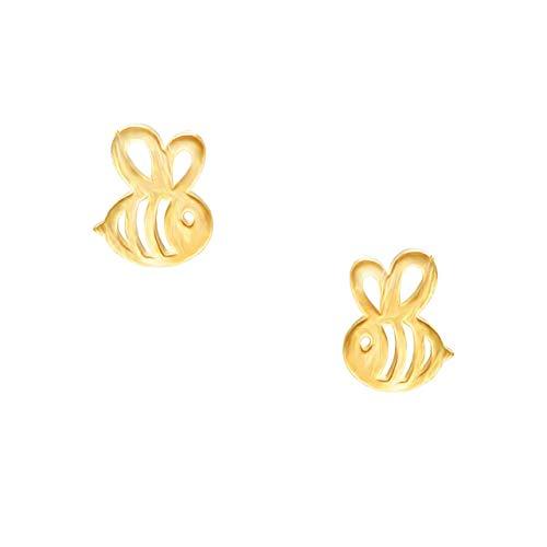 URBAN SHe° Gold plated vermeil 925 sterling silver cut out honeybee bee studs earrings