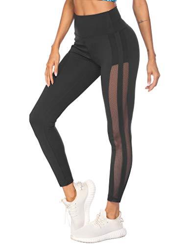 COOrun Leggings Damen Sporthose Lang Sport High Waist Yoga Hose Sportleggins Laufhose Trainingshose Sexy Eng Elastisch für Freizeit Fitness Schwarz M
