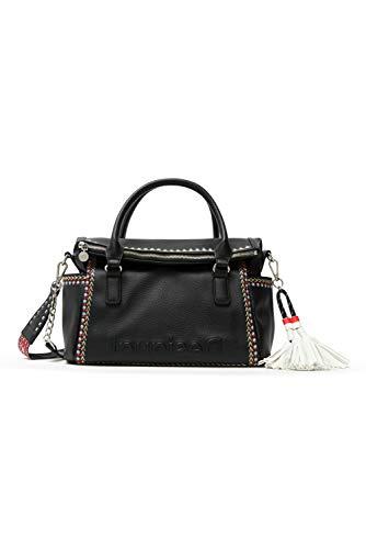 Desigual PU Hand Bag, Mano Mujer, Negro, U