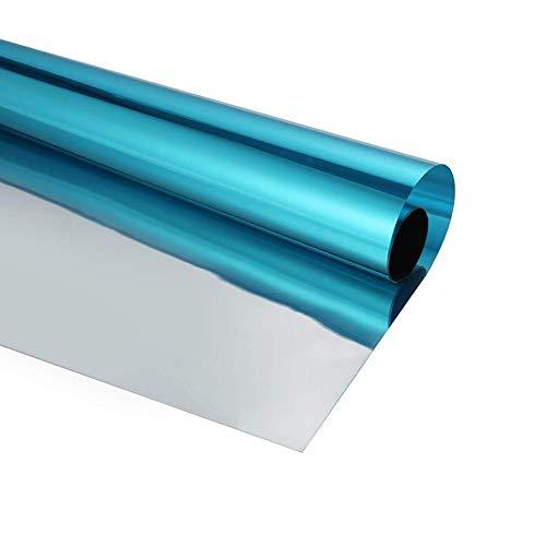 Klebefolie Dusche Blaue Und Silberne Glas-Wärmekontrollfolie Uv-Sichere Folie Pet Einwegspiegel Hochwertige Selbstklebende Prvacy-Schutzglasfolie-85 Cm X 200 Cm