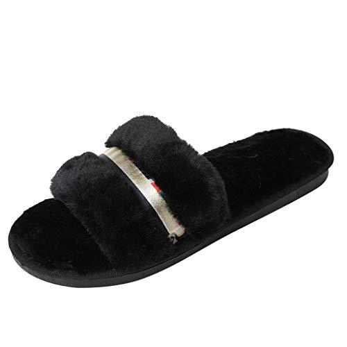 KERULA Damen Hausschuhe Flache Fluff Flip-Flops Indoor Warm Badeschuhe Home Badelatschen rutschfest Slippers Pantoffeln Gartenschuhe Schlappen Slide Sandal Sandalen