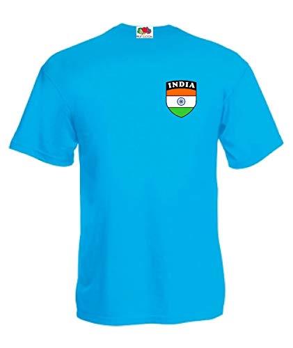 India Indisches Cricket Fan Shirt Trikot World Cup 2015 Sky T-Shirt - Alle Größen - Azurblau, XXL