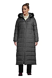 Lands' End Women's Faux Fur Hooded Down Winter Long Coat Faux Fur