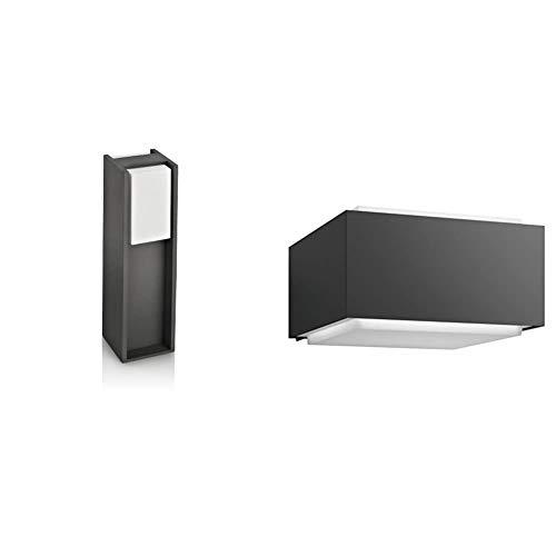 Philips Bridge Lighting pedestal/sobremuro, resistente a la intemperie, color antracita, IP44 + myGarden Hedgehog Aplique exterior, resistente a la intemperie, en aluminio, color antracita, IP44