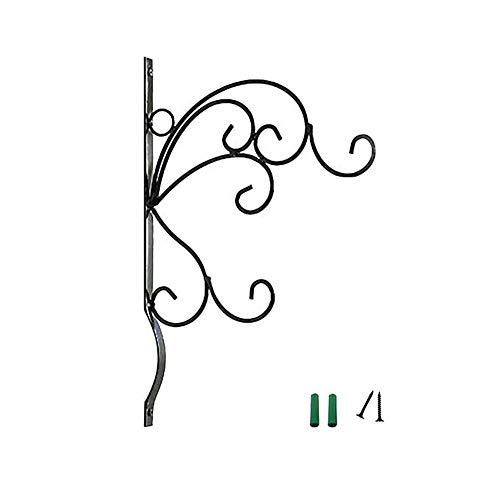 GJCrafts Ganchos de pared para colgar plantas de hierro, soportes para cestas colgantes de jardín al aire libre, soporte de hierro forjado para faroles, macetas, cerca, color negro