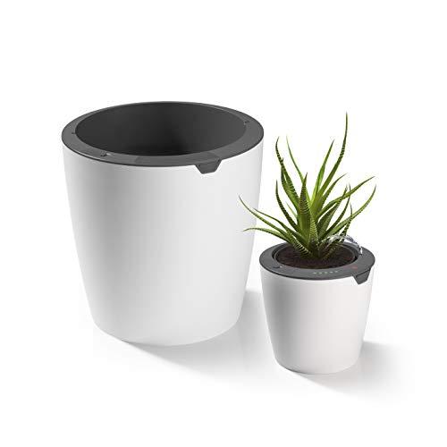 LAZY LEAF Der selbstgiessende Blumentopf - je 1 Topf Ø 13 cm & 27,5 cm | Wasser einfüllen, Giessmenge einstellen - fertig | Intelligentes Bewässerungssystem per Touch-Control mit 10 Bewässerungsstufen