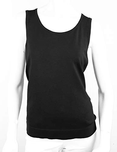 August Silk Women's Sleeveless Round Neck Silk Twin Shell, Black, Large