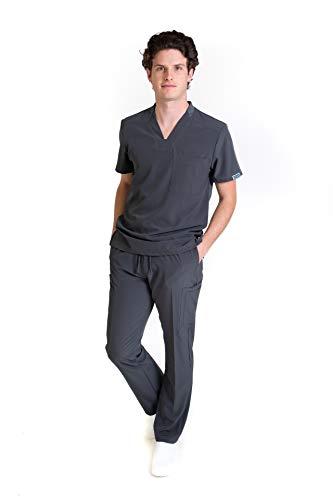 EA-02 CONJUNTO REPELENTE A FLUIDOS TELA STRETCH FLEX-DRY-DYNAMIC Conjunto de Uniforme Médico para Caballero - Traje Completo Filipina y Pantalón Médico - Quirúrgico para Doctores - Conjunto Quirúrgico para Hombre - Scrub y Pant HASSAN UNIFORMES (PEWTER PANT PEWTER, XCH)