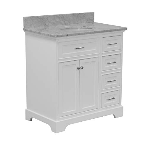 Aria 36-inch Bathroom Vanity (Carrara/White): Includes White Cabinet with Authentic Italian Carrara Marble Countertop and White Ceramic Sink