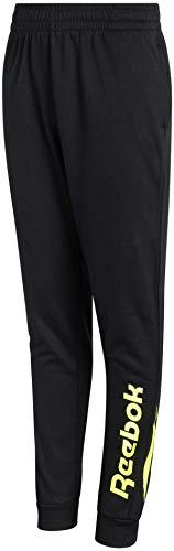 Reebok Pantalón deportivo de forro polar para niños con detalles de panel, talla pequeña, negro/lima