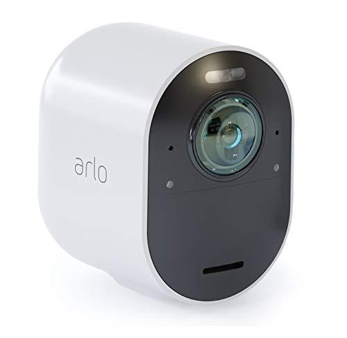 Arlo Ultra VMC5040 Telecamera Aggiuntiva 4K, per Sistema di Videosorveglianza Wi-Fi, Audio 2 Vie, Luce, Bluetooth, Visione 180°, Interno/Esterno, VCR, Compatibile con Alexa/Google Wi-Fi