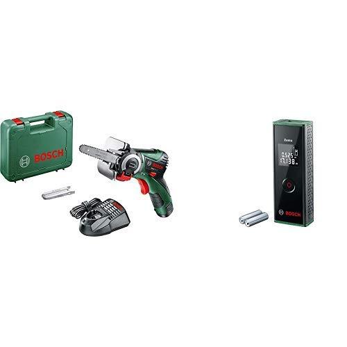 Bosch Akku Säge EasyCut 12 (1 Akku, NanoBlade Technologie, 12 Volt System, im Koffer) + Laser Entfernungsmesser Zamo (3. Generation, Messbereich: 0,15 – 20,00 m, Karton)