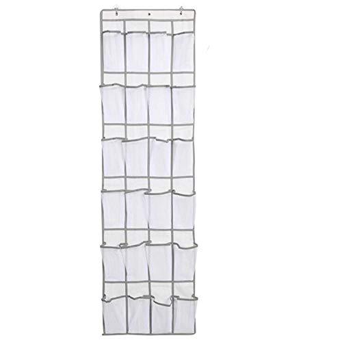weichuang Caja de zapatos con bolsillo grande de malla de tela para colgar en la pared, organizador de ropa de cama, zapatillas, bolsa de almacenamiento para zapatos (color: blanco 24 cuadrículas)