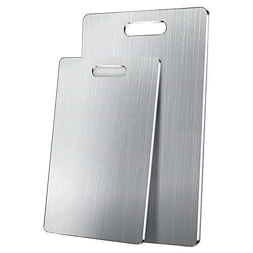 MNSSRN Tabla de Cortar de Cocina de Acero Inoxidable, Tablero de Corte de Dos Lados Antideslizantes de Amasado para el hogar para Carne, Queso, Tabla de Cortar Pesada,23.6 * 15.7in(60 * 40cm)