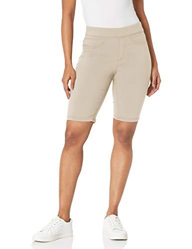 Erika Women's Joey Pull On Slim Straight Bermuda Short, Khaki Haze, Large