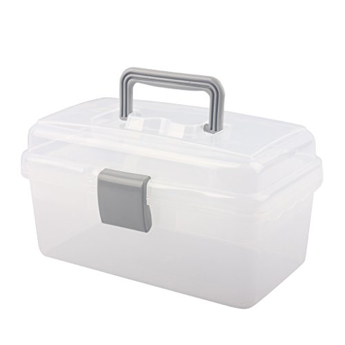 BangQiao Multipurpose Plastic Storage Container Box with Handle and Latch Lock, Clear Gray