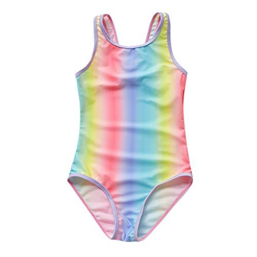 DAY8 Maillot de Bain Fille 8-16 Ans 1 Pieces Maillot Combinaison Fille Été Vetement Fille Pas Cher Tankini Bikini Ado Fille Arc-en-Ciel Costume de Bain Natation Enfant Fille (16 Ans, Multicolore)