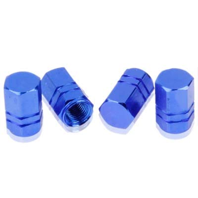 Valve DFDA Blue Geanodiseerd Aluminium Band Ventiel Steel Caps 4 Stuks (blauw) Accessoires