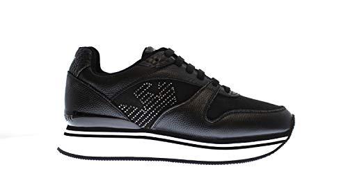 Emporio Armani X3X046 Sneakers mit Schnüren aus Leder, Schwarz, Weiß - weiß - Größe: 37W