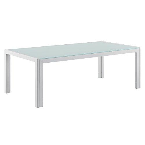 [casa.pro]® Mesa de centro de vidrio 100 x 50 x 35 cm mesa de jardín armazón hierro diseño terraza blanco