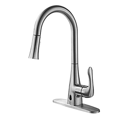 TRUSTLIFE Touchless Kitchen Sink Faucet with Pull Out Sprayer Automatic Motion Sensor High Arc Single Handle Pull Down Two-Sensor Kitchen Taps with Metal Deck Plate Brushed Nickel Finished Anti-Finge