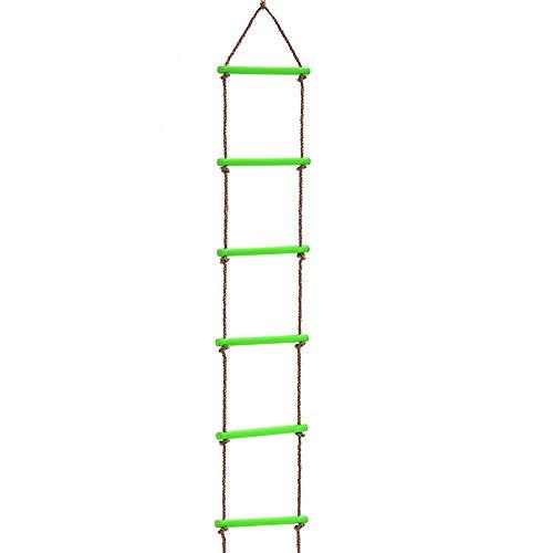 GoodFaith Kletterleiter Spielhaus 2 mt 6 Sprossen Seil Schaukel Sicher Klettern Leiter Fitness Spielzeug Garten Hinterhof Spielen Spaß Baumhaus für Kinder Indoor Outdoor