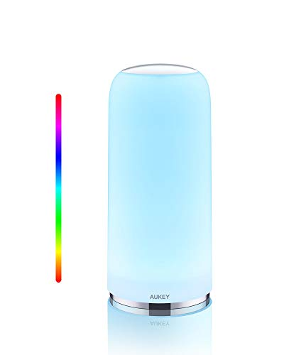 AUKEY Tischlampe RGB Berührungssensitive Nachttischlampe Mit Timer Funktion, Dimmbares Warmweißes Licht & Farbwechsel, Nachtlicht Mit Memory Funktion Für Wohn und Schlafzimmer