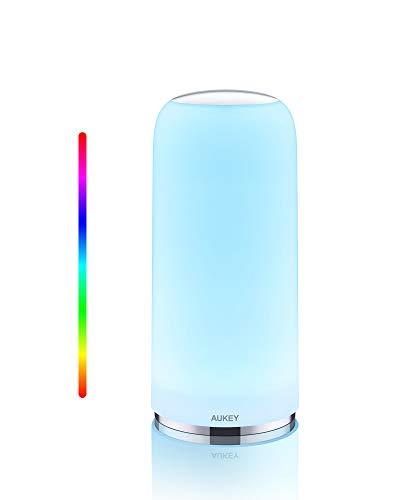 Aukey Lámpara de mesa RGB, sensible al tacto, con función de temporizador, luz blanca cálida regulable y cambio de color, luz nocturna con función de memoria, para salón y dormitorio …