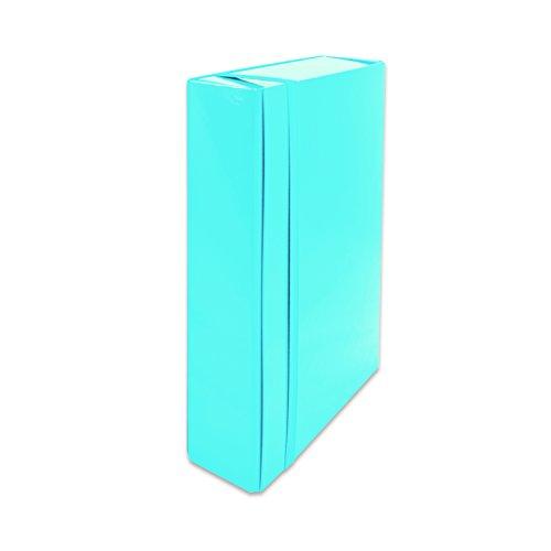 euro-cart IRIS Cartella Portaprogetti con Elastico Piatto, Dorso 5 cm, Azzurro