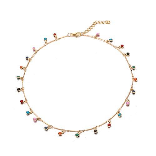 xingxing Collar de oro de moda para mujer con encanto colorido cadena de piedra Chockers hecho a mano joyería del partido al por mayor (color del metal: color oro)