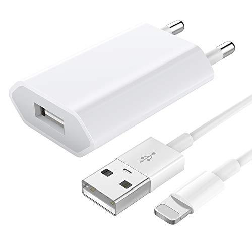 Madream Caricabatterie per iPhone, Caricatore USB con Cavo di Ricarica Adattatore Universale da Muro USB e Caricabatterie per iPhone 7 8 Plus 11 12 Mini PRO Max XS