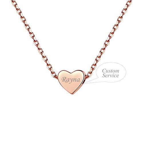 SILVERCUTE Collar de Plata Mujer Personalizable, Regalo para San Valentín, Colgante de Corazón Estilo Minimalista, Collar de Gargantilla Plateado/Dorado/Rosado con Caja de Regalo
