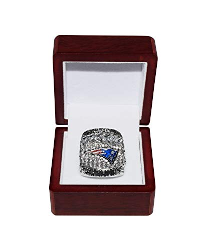 NEW ENGLAND PATRIOTS (Tom Brady) 2019 SUPER BOWL LIII WORLD CHAMPIONS (13-3 Victory Vs. Rams) Rare Collectible High-Quality Replica NFL Football Silver Championship Ring with Cherrywood Display Box