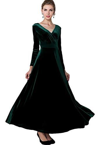 Urban CoCo Women Long Sleeve V-Neck Velvet Stretchy Long Dress (X-Large, Green)