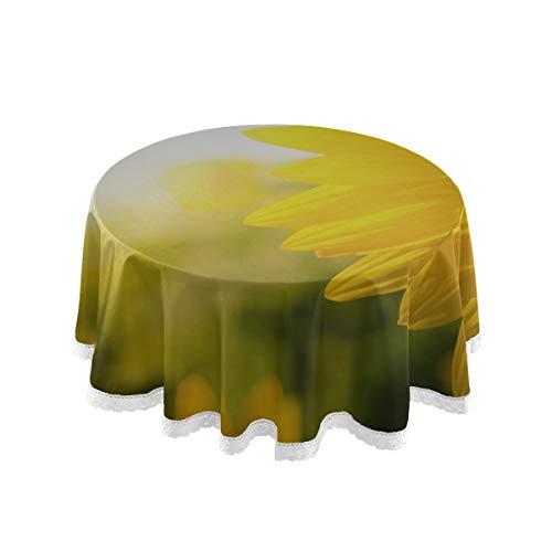 XiexHOME Runde rustikale Tischdecke Bunt gefärbte gelbe Sonnenblume Tee Tischdecke 60 Zoll Spitze Stitching Macrame Polyester Dekoration