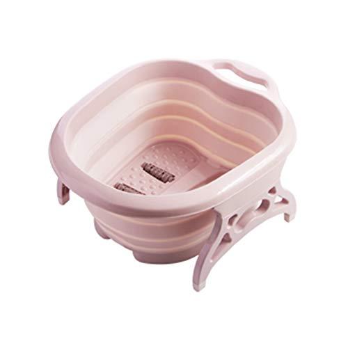 Warooma - Vaschetta per pediluvio pieghevole in plastica, grande e robusto secchio per massaggio pediluvio portatile, ideale per immergere i piedi, le unghie dei piedi e le caviglie, colore: rosa