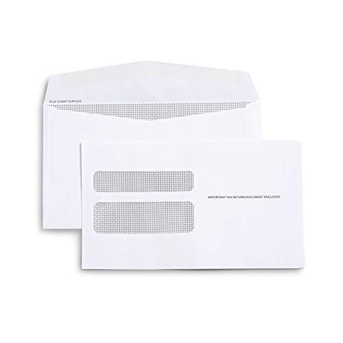 500 W2 Tax Envelopes - Designed for Printed W2 Laser Forms from QuickBooks Desktop or Similar Tax Software - 5 5/8 Inch X 9 Inch, Gummed Flap, 500 Form Envelopes (Not for QuickBooks Online)