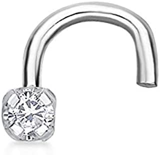 Lavari 14K Gold 1.3mm .01 Carat Genuine Diamond Nose Ring Curve Stud Twist Screw 22 Gauge White and Yellow Gold…