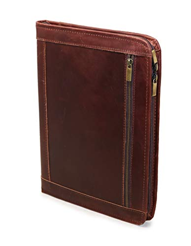 Handmade Genuine Leather Business Portfolio by Jaald | Professional Organizer Men & Women | Durable Leather Padfolio with Sleeves for documents and Notepad