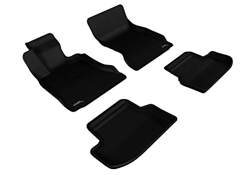 3D MAXpider Complete Set Custom Fit All-Weather Floor Mat for Select BMW 5 Series (F10) Models - Kagu Rubber (Black)