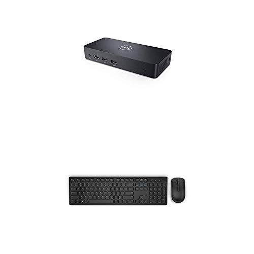 Dell USB 3.0 Ultra HD/4K Triple Display Docking Station (D3100) with Dell KM636 Wireless Keyboard & Mouse Combo (5WH32)